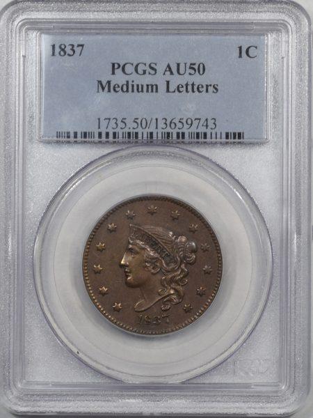 1837-1C-MEDLET-PCGS-AU50-743-1