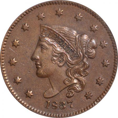 1837-1C-MEDLET-PCGS-AU50-743-2