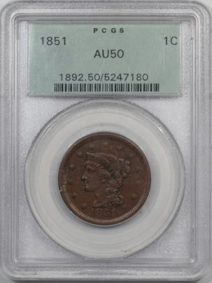 Braided Hair Large Cents 1851 BRAIDED HAIR LARGE CENT PCGS AU-50