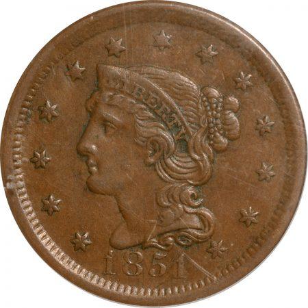 Braided Hair Large Cents 1851 BRAIDED HAIR LARGE CENT PCGS AU-50