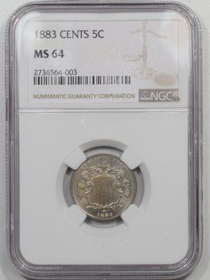 Shield Nickels 1883 SHIELD NICKEL NGC MS-64 PREMIUM QUALITY!