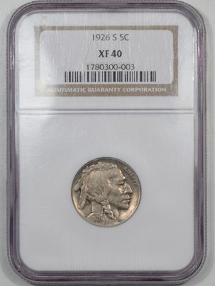 Buffalo Nickels 1926-S BUFFALO NICKEL NGC XF-40