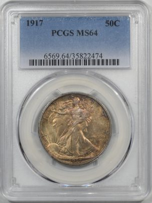 Walking Liberty Halves 1917 WALKING LIBERTY HALF DOLLAR PCGS MS-64 PREMIUM QUALITY!