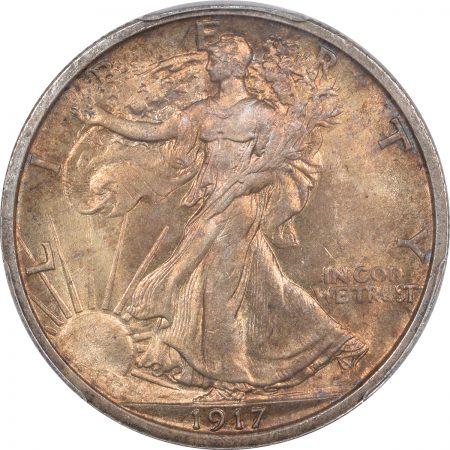 Walking Liberty Halves 1917 WALKING LIBERTY HALF DOLLAR PCGS MS-64 PREMIUM QUALITY!