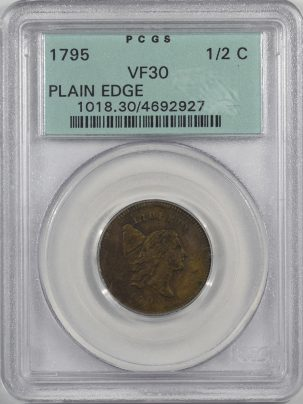 Liberty Cap Half Cents 1795 LIBERTY CAP HALF CENT – PLAIN EDGE PCGS VF-30