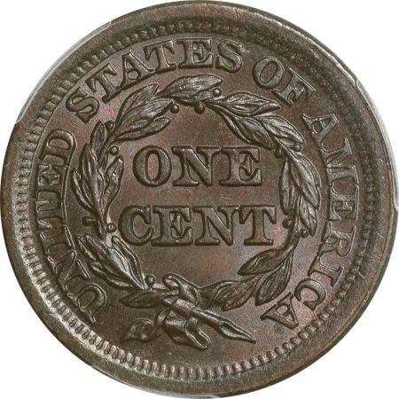 Braided Hair Large Cents 1852 BRAIDED HAIR LARGE CENT PCGS MS-66 BN