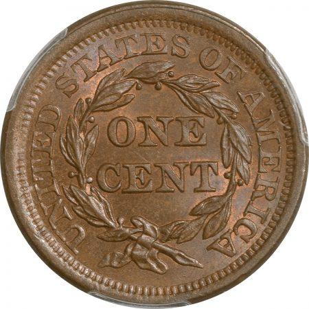 Braided Hair Large Cents 1855 BRAIDED HAIR LARGE CENT – UPRIGHT 55 PCGS MS-65 BN