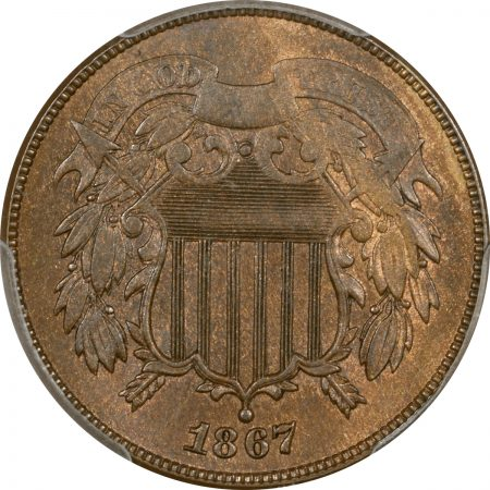 Coin World/Numismatic News Featured Coins 1867 TWO CENT PIECE – DOUBLED DIE OBVERSE PCGS MS-62 BN