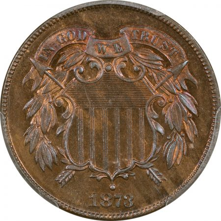 Two Cent Pieces 1873 PROOF TWO CENT PIECE – CLOSED 3 PCGS PR-66 BN