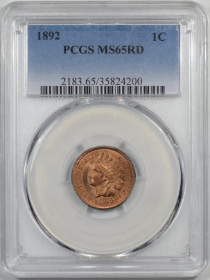 Coin World/Numismatic News Featured Coins 1892 INDIAN CENT PCGS MS-65 RD