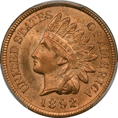 Indian 1892 INDIAN CENT PCGS MS-65 RD