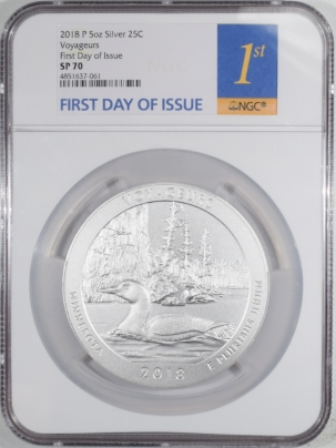 New Certified Coins 2018-P AMERICA THE BEAUTIFUL SILVER 25C MN VOYAGER 5 OZ NGC SP70 FIRST DAY ISSUE