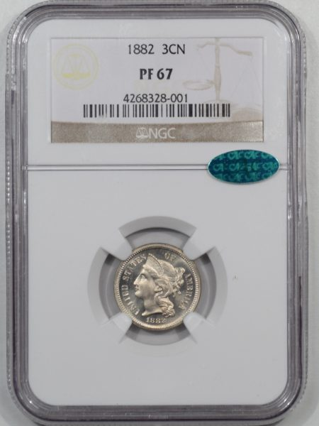 CAC Approved Coins 1882 PROOF THREE CENT NICKEL NGC PF-67 CAC APPROVED
