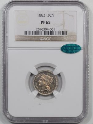 CAC Approved Coins 1883 PROOF THREE CENT NICKEL NGC PF-65 CAC APPROVED