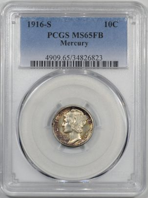Coin World/Numismatic News Featured Coins 1916-S MERCURY DIME PCGS MS-65 FB