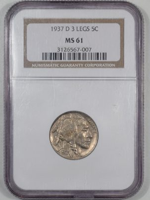 Buffalo Nickels 1937-D BUFFALO NICKEL – 3 LEGS NGC MS-61