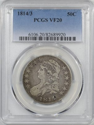 Coin World/Numismatic News Featured Coins 1814/3 CAPPED BUST HALF DOLLAR PCGS VF-20