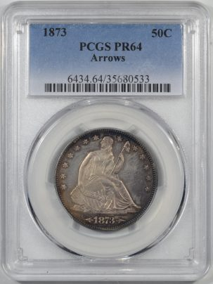 Coin World/Numismatic News Featured Coins 1873 PROOF SEATED LIBERTY HALF DOLLAR – ARROWS PCGS PR-64