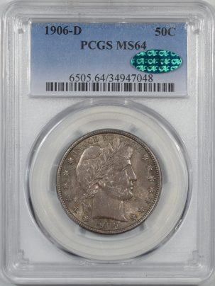 Coin World/Numismatic News Featured Coins 1906-D BARBER HALF DOLLAR PCGS MS-64 CAC APPROVED