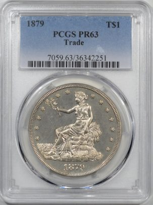 Coin World/Numismatic News Featured Coins 1879 PROOF TRADE DOLLAR PCGS PR-63