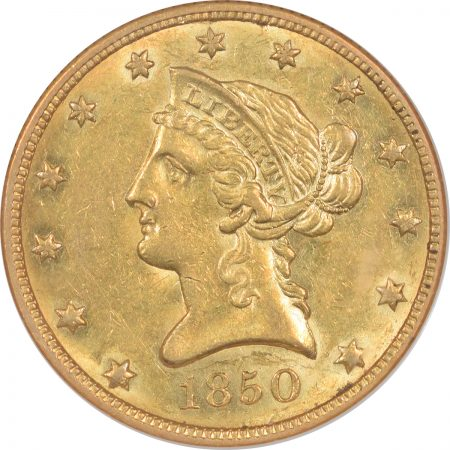 $10 1850 $10 LIBERTY HEAD GOLD – SMALL DATE NGC AU-58