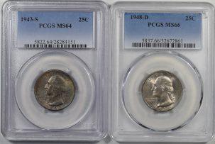 Washington Quarters 1943-S & 1948-D WASHINGTON QUARTERS LOT OF 2 PCGS MS-64/66