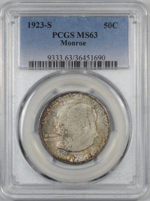1923s-MONROE-50C-PCGS-MS63-690-1