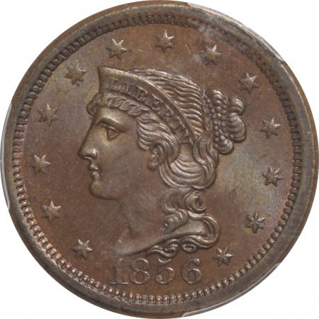 1856-1C-N6-UPRIGHT5-PCGS-MS64BN-CAC-757-2