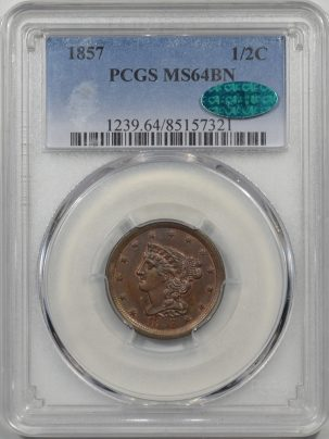 1857-H1C-PCGS-MS64BN-CAC-321-1