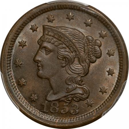 Braided Hair Large Cents 1853 BRAIDED HAIR LARGE CENT PCGS MS-64 BN