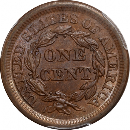 Braided Hair Large Cents 1853 BRAIDED HAIR LARGE CENT PCGS MS-64 BN