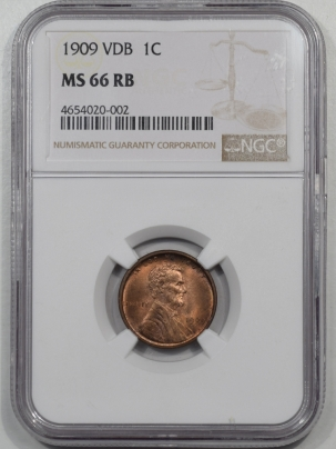 Lincoln Cents (Wheat) 1909 VDB LINCOLN CENT NGC MS-66 RB