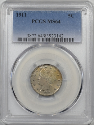 Liberty Nickels 1911 LIBERTY NICKEL PCGS MS-64