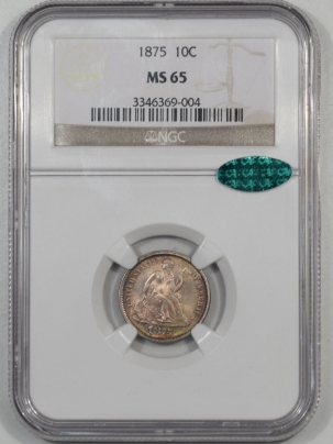 Coin World/Numismatic News Featured Coins 1875 LIBERTY SEATED DIME NGC MS-65 CAC APPROVED!