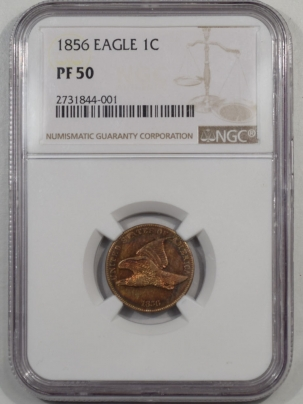 Flying Eagle 1856 PROOF FLYING EAGLE CENT NGC PF-50 COLOR PRETTY!