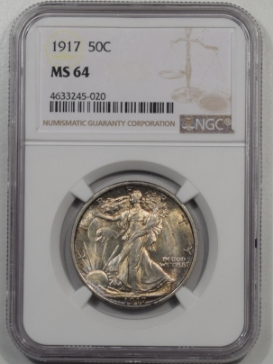 Walking Liberty Halves 1917 WALKING LIBERTY HALF DOLLAR NGC MS-64