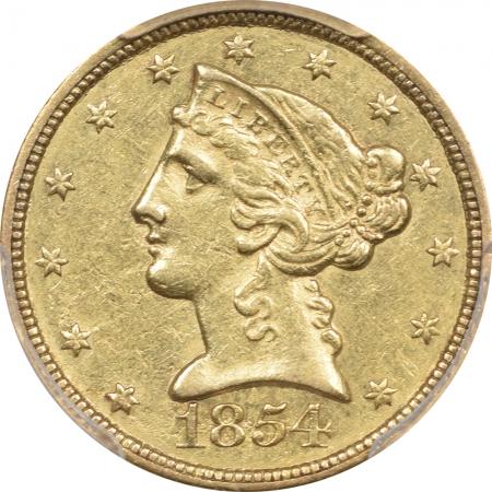 $5 1854-C $5 LIBERTY HEAD GOLD – WEAK C PCGS AU-53