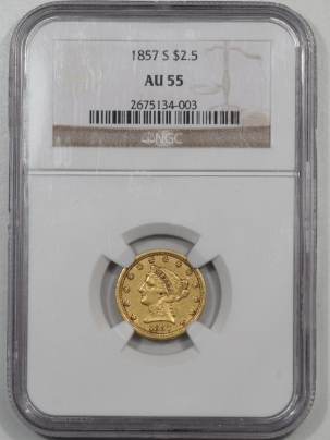 $2.50 1857-S $2.50 LIBERTY HEAD GOLD NGC AU-55