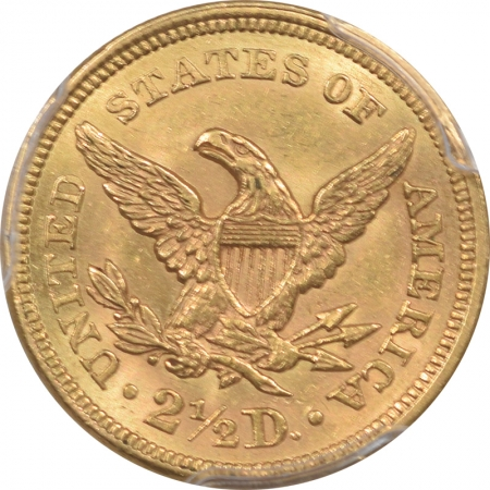 $2.50 1860 $2.50 LIBERTY HEAD GOLD – OLD REVERSE PCGS MS-62 PREMIUM QUALITY!