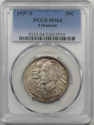 Silver 1937-S ARKANSAS COMMEMORATIVE HALF DOLLAR PCGS MS-64