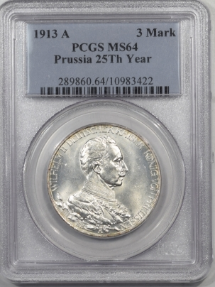 1913A-GERMANY-3MK-PRUSSIA-25TH-PCGS-MS64-422-1