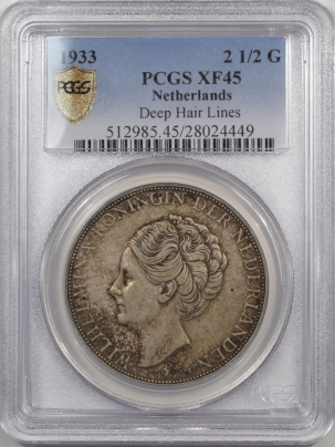 1933-NETHERLANDS-250G-DEEP-HAIR-LINES-PCGS-XF45-449-1