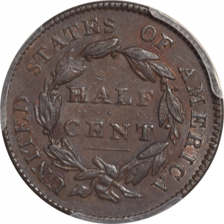 Coin World/Numismatic News Featured Coins 1828 CLASSIC HEAD HALF CENT – 12 STARS PCGS AU-55
