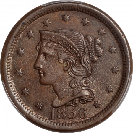 Braided Hair Large Cents 1856 BRAIDED HAIR LARGE CENT – UPRIGHT 5 PCGS MS-63 BN
