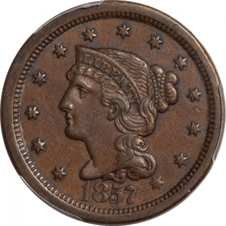 Braided Hair Large Cents 1857 BRAIDED HAIR LARGE CENT – LARGE DATE PCGS AU-55