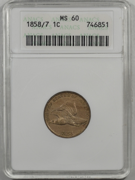 Coin World/Numismatic News Featured Coins 1858/7 FLYING EAGLE CENT ANACS MS-60