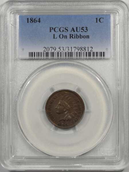 1864-1C-L-ON-RIBBON-PCGS-AU53-812-1