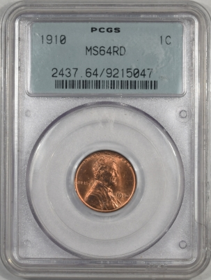Lincoln Cents (Wheat) 1910 LINCOLN CENT PCGS MS-64 RD