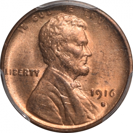 Lincoln Cents (Wheat) 1916-S LINCOLN CENT PCGS MS-63 RD