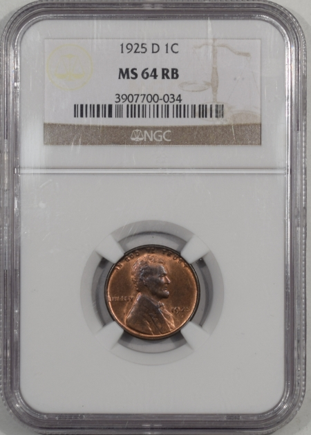 Lincoln Cents (Wheat) 1925-D LINCOLN CENT NGC MS-64 RB